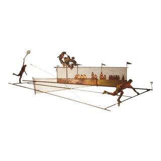 Mid-Century Modern Bijan Signed Tennis Match Copper & Brass Wall Sculpture For Sale