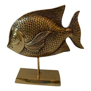 Vintage Brass Rainbow Fish Sculpture on Stand For Sale