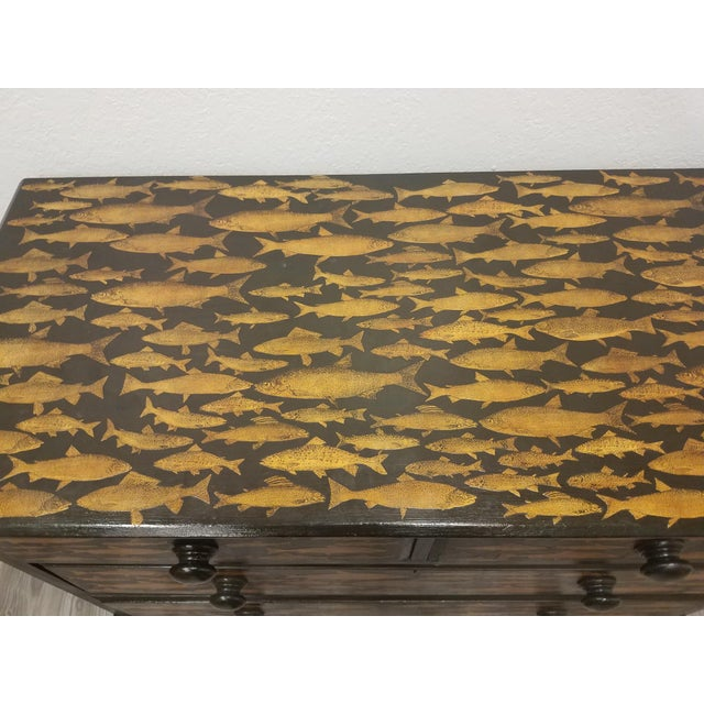 Antique English Fish Decoupage Chest of Drawers - Two Drawers Over Two Drawers For Sale In Dallas - Image 6 of 13