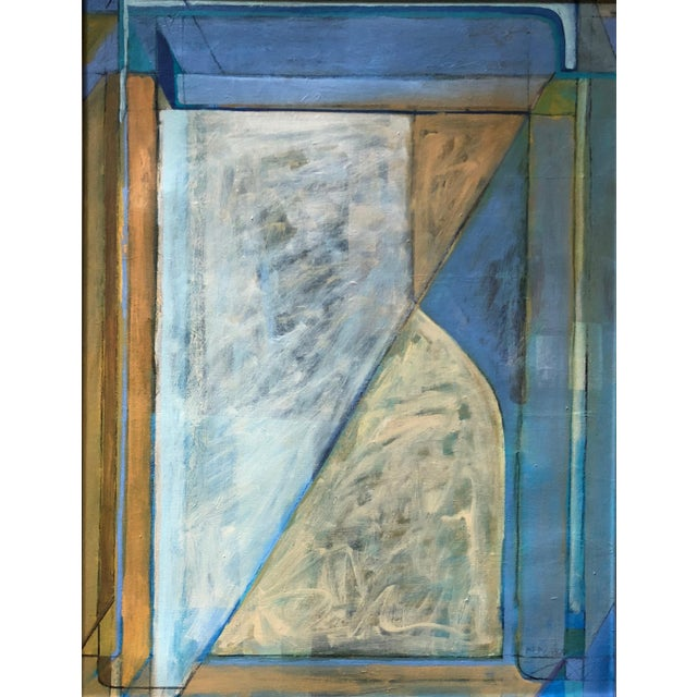 For your consideration we are presenting for sale a vintage modernist geometric oil painting done on canvas by St. Louis...