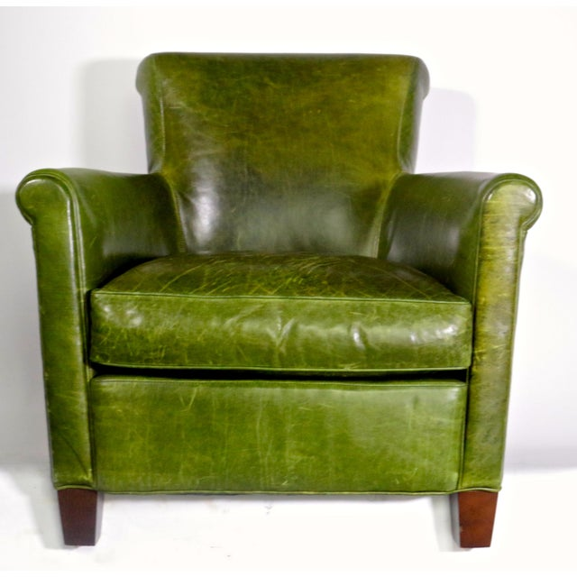 French Antique French Distressed Emerald Green Leather Club Chair For Sale  - Image 3 of 7 - Antique French Distressed Emerald Green Leather Club Chair Chairish