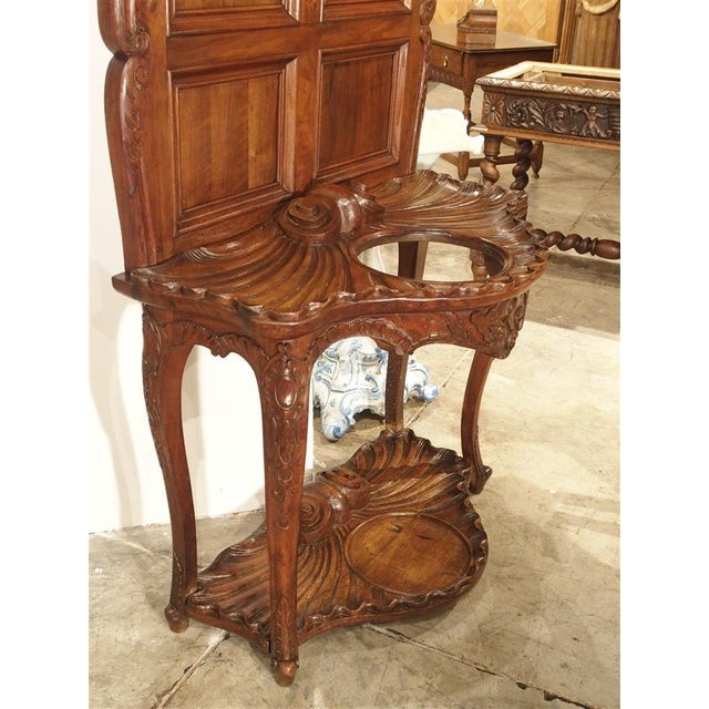 Antique French Walnut Wood Hall Rack and Umbrella Stand, Circa 1880 For Sale - Image 10 of 11
