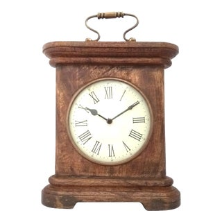 Vintage Shoptreed Solid Wood Chiming Mantel Clock with Handle For Sale