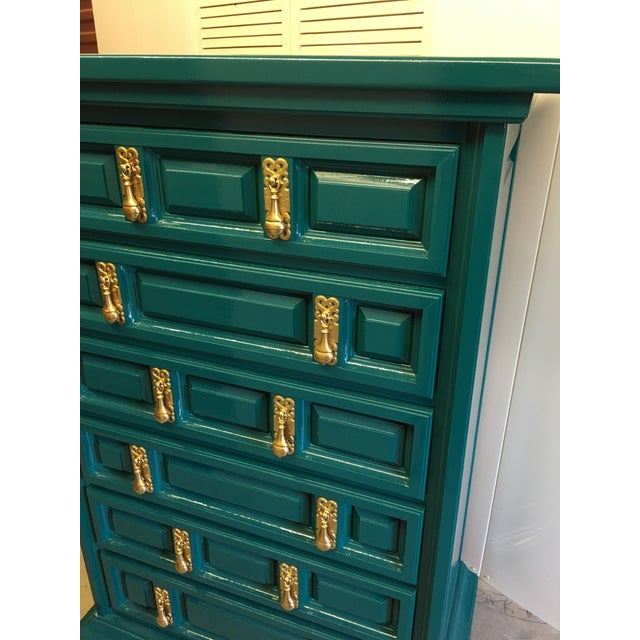 United Furniture Corporation 1970s Mid-Century Modern United Furniture Jade Green Lacquered High Boy Dresser For Sale - Image 4 of 9