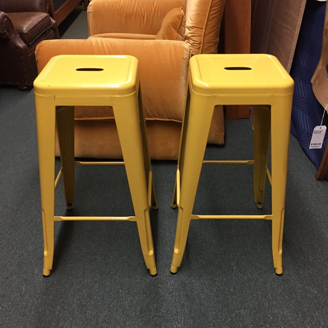 Yellow Painted Metal Bar Stools - A Pair - Image 2 of 7