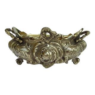 Vintage Brass Ornate Planter W/Brass Interior Liner