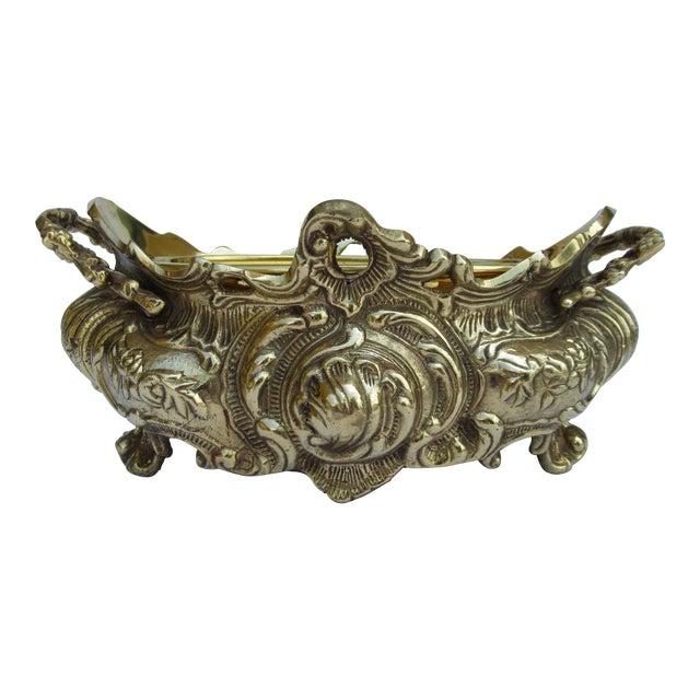 Vintage Brass Ornate Planter W/Brass Interior Liner For Sale