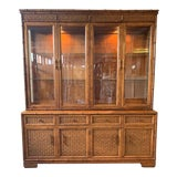 Image of Faux Bamboo and Rattan China Cabinet by American of Martinsville For Sale