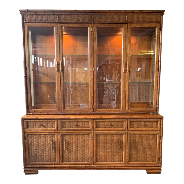 Faux Bamboo and Rattan China Cabinet by American of Martinsville For Sale