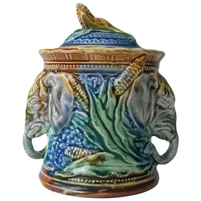 Majolica Elephant Tobacco Jar For Sale