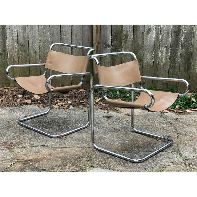 Camel Ralph Rye for Dunbar Leather and Chrome Sling Chairs - a Pair For Sale - Image 8 of 12