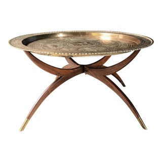 1950s Vintage Moroccan Brass Tray Table For Sale
