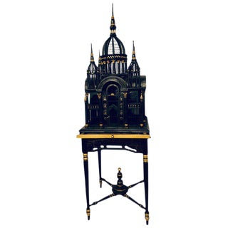 Victorian Ebony and Gilt Faux Marble Decorated Birdcage on a Stand For Sale