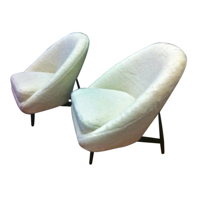 Theo Ruth for Artifort, 1950s Chairs, Newly Reupholstered in Wool Faux Fur For Sale