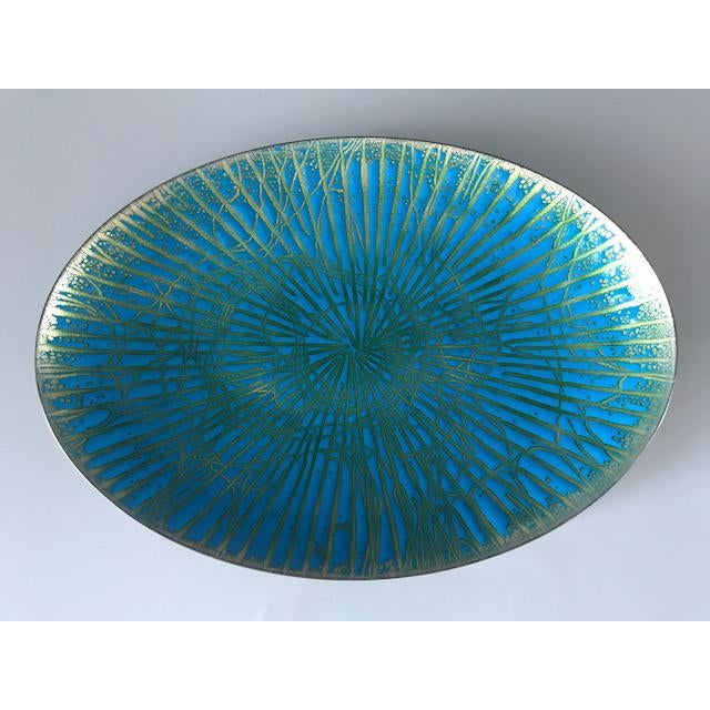 Vintage enamel over copper plate/dish handmade by renowned California enamel artist, Anne Marie Davidson in the 1960's. A...