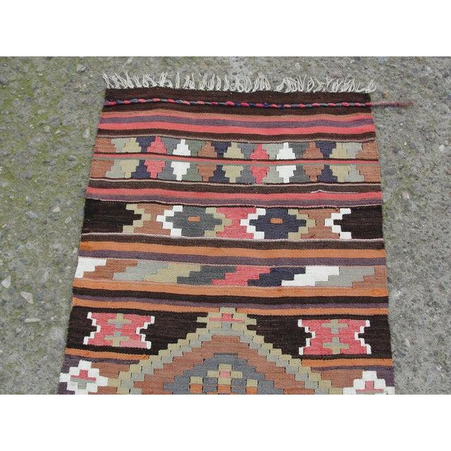 Islamic Vintage Turkish Kilim Rug - 2′8″ × 12′5″ For Sale - Image 3 of 11