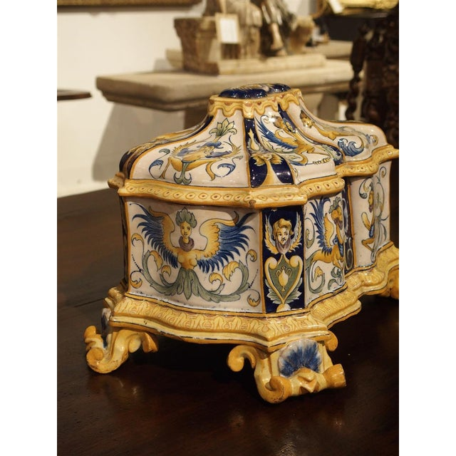 Figurative 19th Century Italian Renaissance Style Majolica Box For Sale - Image 3 of 12