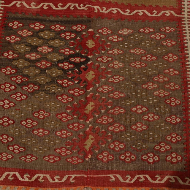 Vintage Kayseri Red and Brown Wool Kilim Rug For Sale In New York - Image 6 of 9