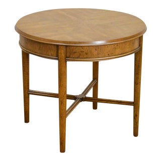 Heritage Vintage Round Walnut Side Table For Sale