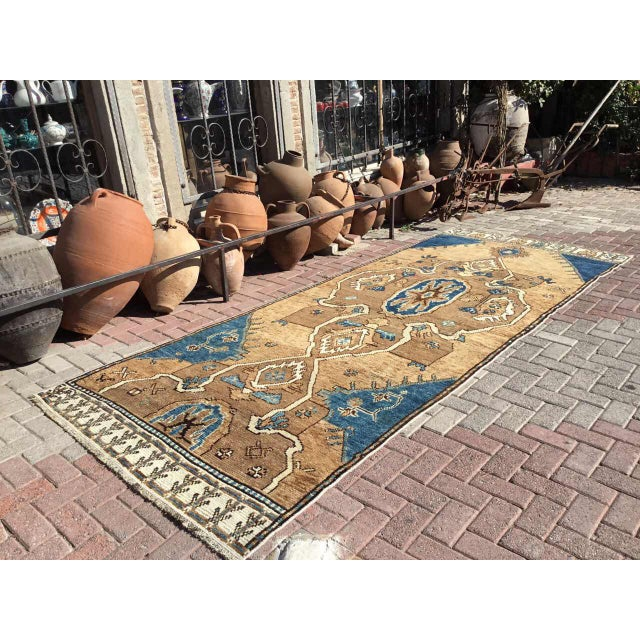 This gorgeous hand knotted Oushak rug was made in about 1950's by Anatolian tribes. Collectible rug is made with all hand...