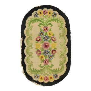 Antique American Floral Hooked Oval Rug - 02'10 X 04'08 For Sale