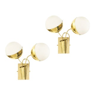 1960s Mid-Century Wall Lights with Two Globes - a Pair For Sale