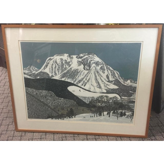 """1970s Fumio Kitoka Woodblock Winter Scene """"Snowy Mountain"""" Signed Limited Edition 1975 For Sale - Image 5 of 5"""