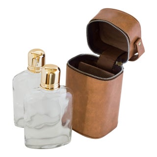 Vintage Double Flask Leather Travel Set - Set of 3 For Sale