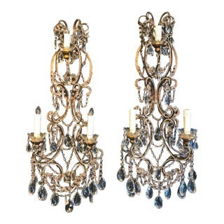 Pair Italian Beaded Sconces C. 1950s For Sale