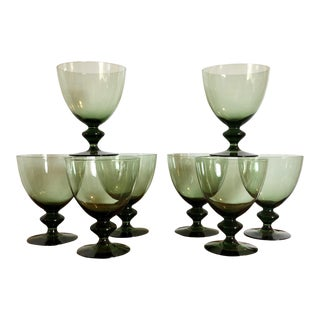 Mid Century Green Goblets - Set of 8