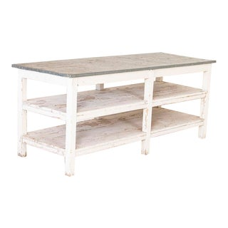 Antique Painted Farm Work Table With Zinc Top For Sale