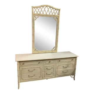 Allegro Collection by Thomasville Faux Bamboo Dresser and Mirror For Sale