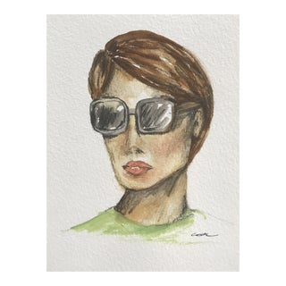 "Original Mixed Media Painting ""Mod Woman in Sunglasses"""