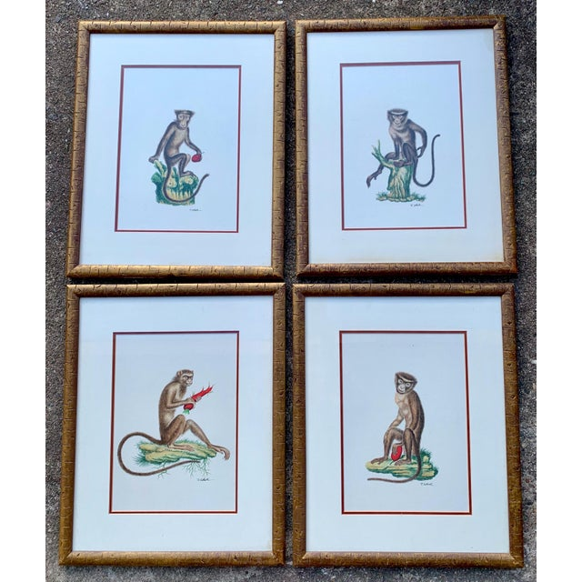 Black Set of 4 Chelsea House Hand Painted on Silk Monkey Paintings For Sale - Image 8 of 8
