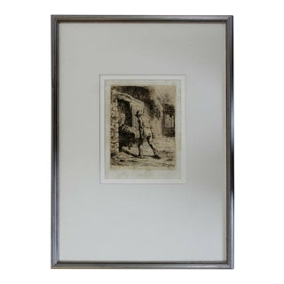 Antique 19th Century Framed Jean Francois Millet Man W Wheelbarrow Etching 1800s For Sale