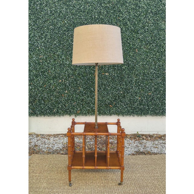 Brown Frederick Cooper Faux Bamboo Magazine Rack Floor Lamp For Sale - Image 8 of 8