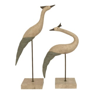 Tessellated Stone and Brass Bird Sculptures - Set of 2 For Sale