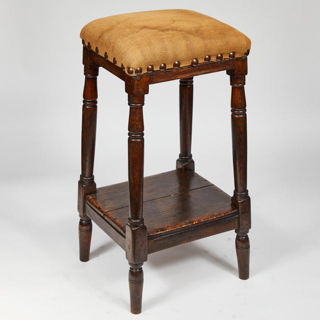 English Late 19th Century English Tall Upholstered Stool With Bottom Shelf For Sale - Image 3 of 10