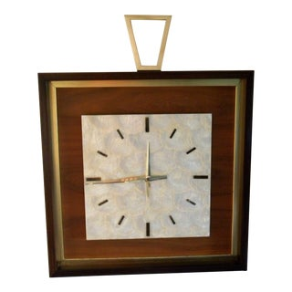 Mid Century Capiz Shell and Wood Wall Clock For Sale
