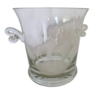 Etched Champagne Ice Bucket With Scroll Handles For Sale