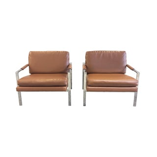Chrome and Leather Armchairs Attributed to Milo Baughman - a Pair For Sale