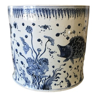 Vintage Asian Style Ceramic Fishbowl For Sale