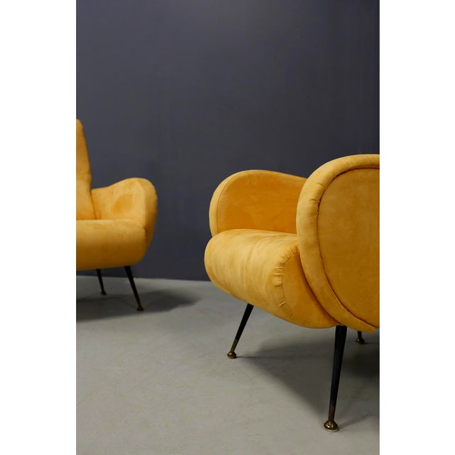Black Pair of MidCentury Reclining Armchairs in Yellow Velvet in Zanuso Style, 1950s For Sale - Image 8 of 9