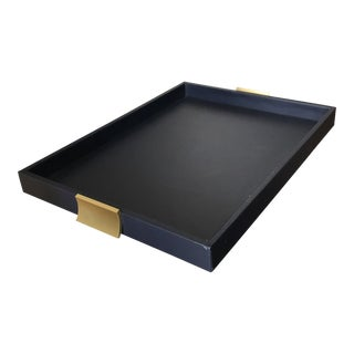 Navy Blue Leather and Brushed Brass Handles Serving Tray For Sale