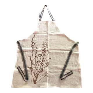 Linen Botanical Apron - Mustard For Sale