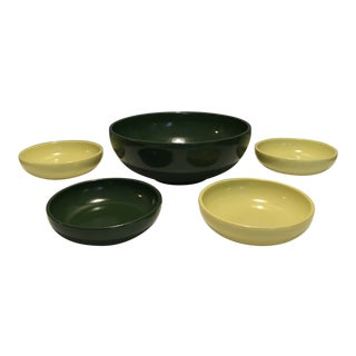 1930s Vintage Hazel Atlas Green & Yellow Salad Serving - Set of 5 For Sale