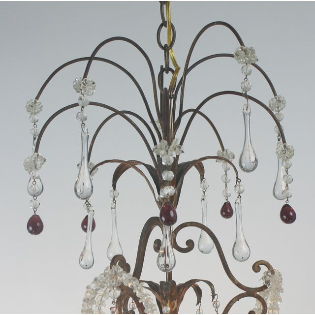 Antique Italian Gold Leaf Crystal Chandelier - Image 4 of 10