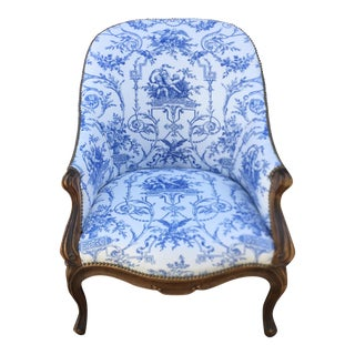 Antique Louis XV Style Barrel Form Bergere Chair W Dessin Fournir For Sale