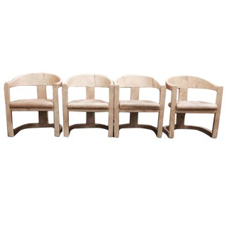 Set of 4 Karl Springer Onassis Chairs For Sale