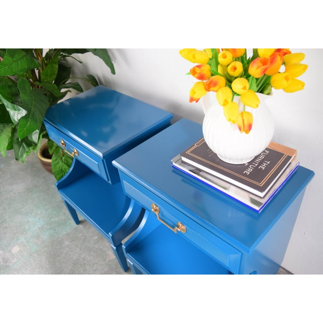 20th Century Italian Baroque Teal Blue Side Tables - a Pair For Sale - Image 4 of 9